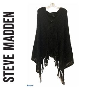 Steve Madden Black Knit Hooded Cape
